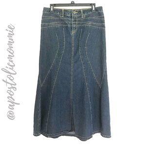 Modest Long Denim Skirt (Dark wash)